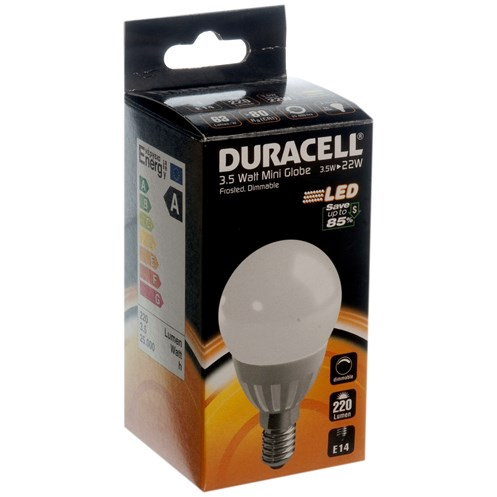Duracell  LED Frosted Mini Globe Light Bulb - 3.5W SES