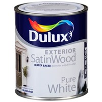 Dulux  Exterior SatinWood Pure White Paint - 2.5 Litre