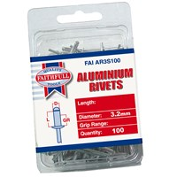 Faithfull  Aluminium 3.2mm Rivets - 100 Pack