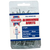 Faithfull  Aluminium 4mm Rivets - 100 Pack