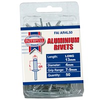 Faithfull  Aluminium 4mm Rivets - 50 Pack