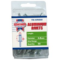 Faithfull  Aluminium 4.8mm Rivets - 50 Pack