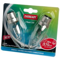 Eveready  Eco Halogen Candle Light Bulb 28W BC - 2 Pack